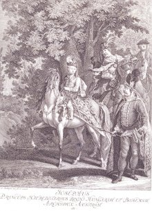 Johann Elias Riedinger: Joseph II as a child on horseback, copperplate engraving, c. 1750