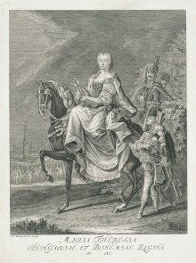 Johann Elias Riedinger: Maria Theresa on horseback, copperplate engraving, c. 1750