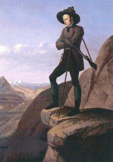 Johann Huber (nach Johann Peter Krafft): Erzherzog Johann am Hochschwab, Ölgemälde, 1839