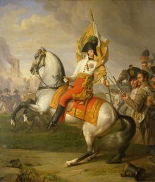 Johann Peter Krafft: Archduke Karl with the colours of the Zach Regiment at the Battle of Aspern, oil on ca...