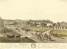 Johann Ziegler: Approach and entrance to the Augarten, coloured copperplate engraving, 1782