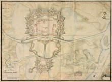 Johannes von Milanes: General plan of the Theresienstadt fortress, coloured pen-and-ink drawing, 1790