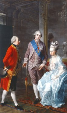 Josef Hauzinger: Marie Antoinette, Archduke Maximilian and Louis XVI, oil on canvas, c. 1776