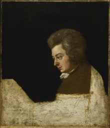 Joseph Lange: Wolfgang Amadé Mozart at the piano, 1789, oil painting (unfinished)
