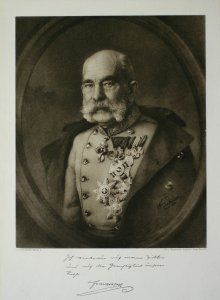 Emperor Franz Joseph, portrait medallion with legend and signature of the emperor, print, 1917