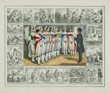 """Karikatur """"Der letzte Augenblick des Demokratischen Frauen-Verein im Jahre 1848"""", kolorierte Lithographie, 18…"""
