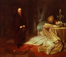 Karl Theodor von Piloty: Court astrologer Seni standing before Wallenstein's corpse, oil painting