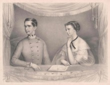 Franz Joseph and Elisabeth in the imperial box at the Hofburgtheater, 1855