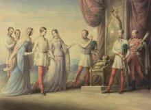 Leopold Kupelwieser: Erzherzogin Sophie geleitet ihren Sohn Franz Joseph zum Thron, Aquarell, 1848