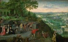 Lucas I. van Valckenborch: Kaiser Rudolf II. bei der Trinkkur, Gemälde, um 1593