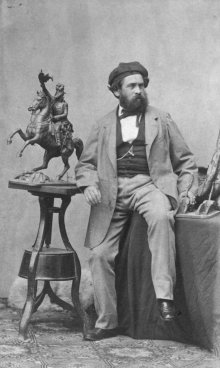 Ludwig Angerer: The sculptor Anton Fernkorn in his studio with the bronze model of his equestrian statue of...