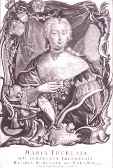 Maria Theresa, half-length portrait against drapery, framed in an opulent Baroque cartouche, mezzotint