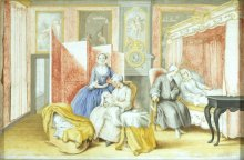 Isabella of Bourbon-Parma: Joseph II at the lying-in of his wife, gouache, 1763
