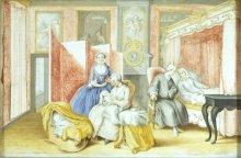 Erzherzogin Isabella: Joseph II. am Wochenbett seiner Gemahlin, Gouache, 1763