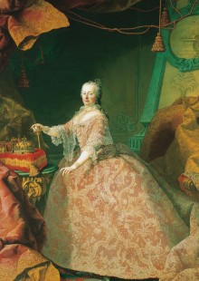 Maria Theresa aged around 35; on the table are the Hungarian Crown of St Stephen, the Bohemian Crown of St ...