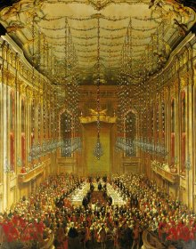 Martin van Meytens (studio of): Court banquet in the Redoutensaal on the occasion of the marriage of Joseph I…