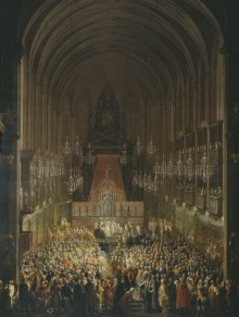 Martin van Meytens and studio: Wedding ceremony in the Augustinerkirche in Vienna in 1760, painting, c. 176...