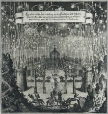 Matthäus Merian: Depiction of a magnificent pyrotechnical display celebrating the marriage of Leopold I to ...