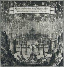 Matthäus Merian: Darstellung eines prächtigen Feuerwerks anlässlich der Vermählung Leopolds I. mit Margarita …
