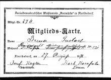 """Mitgliedsausweis des Sozialdemokratischen Wahlvereins """"Vorwärts"""" in Floridsdorf für Gustav Breuer, 27.8.1898"""
