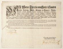 Patent Maria Theresias: Tabaktarife in Österreich für 1775, 1774
