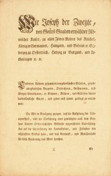 Patent zur Aufhebung der Leibeigenschaft 1781