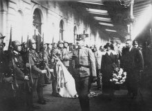 Karl and Zita inspecting the front at the station in Sopron (Western Hungary) on 21 October 1921, photograph, 1921