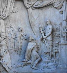 Rudolf Weyr: König Ottokars Glück und Ende, relief on the monument to Grillparzer in the Volksgarten in Vie...
