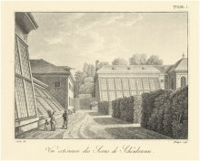 Schönbrunn, the old Palm House, etching