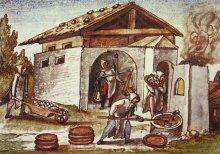 Silver smeltery at the Schwaz mine (*Schwazer Bergbuch*), 1556