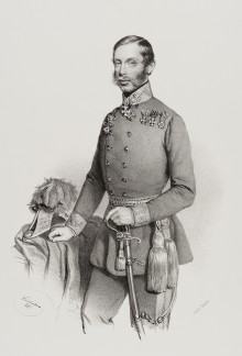 Archduke Albrecht in uniform, lithograph after Josef Kriehuber, 1851