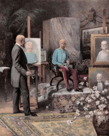 Emperor Franz Joseph sitting for a portrait in the studio of Prof. Siegmund L'Allemand.