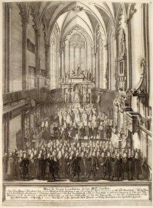 Te Deum in the Hofburg chapel, copperplate engraving, after 1740