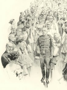 Theo Zasche: The Emperor leaving the room, drawing, 1898