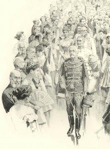 Theo Zasche: Der Kaiser verlässt den Saal, Zeichnung, 1898
