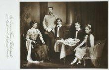 Thronfolger Erzherzog Franz Ferdinand mit Familie, Postkarte, Anfang  20. Jahrhundert
