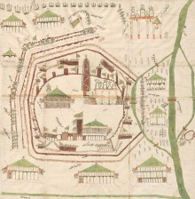 Turkish plan of the Second Siege of Vienna, 1683, coloured pen-and-ink drawing