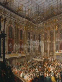 Studio of court painter Martin van Meytens: Court banquet in the Redoutensaal on the occasion of the marriage…