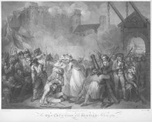 William Nuitter: The Storming of the Bastille, after a painting by Henry Singleton, stipple engraving, 1.3.17…