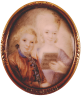 Eusebius Johann Alphen: Wolfgang and Nannerl, miniature on ivory, c. 1765
