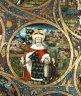 St Leopold II, in the background Klosterneuburg, Babenberg genealogical tree, c. 1490