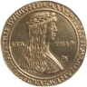 Gold coin, 1479–1517, showing Emperor Maximilian I (as Archduke) on the obverse and Mary of Burgundy (his fir…
