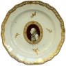 Soup plate with a portrait medallion of Frederick II of Prussia after Löschenkohl, Vienna Porcelain Manufac...