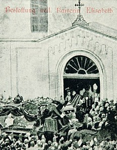Arrival of the funeral cortege of Empress Elisabeth at the Church of the Capuchin Friars in Vienna, postcard,…