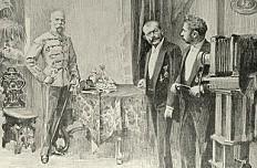 Artur Halmi: Emperor Franz Joseph at the studio of Court Photographer Koller, drawing, 1898