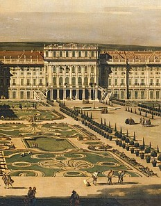 Bernardo Bellotto: Schönbrunn Palace viewed from the gardens, oil painting, 1759/60