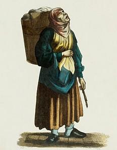 """C. Mahlknecht nach W. Böhm: """"Haderlumpenweib"""", kolorierter Stahlstich"""