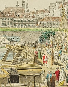 A. Hutter after Carl Schütz: Bridge with barriers over the Danube Channel before the Rotenturm Gate, coloured…