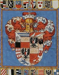 Entwurf einer Wappenstandarte, Aquarell, um 1615