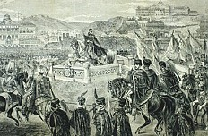 Ferenc Kollarz: Franz Josephs Krönungsritt in Budapest, Zeichnung, 1867